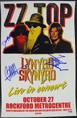 ZZ Top - Billy Gibbons, Frank Beard & Dusty Hill Signed 11x17 Poster PSA #Y07680